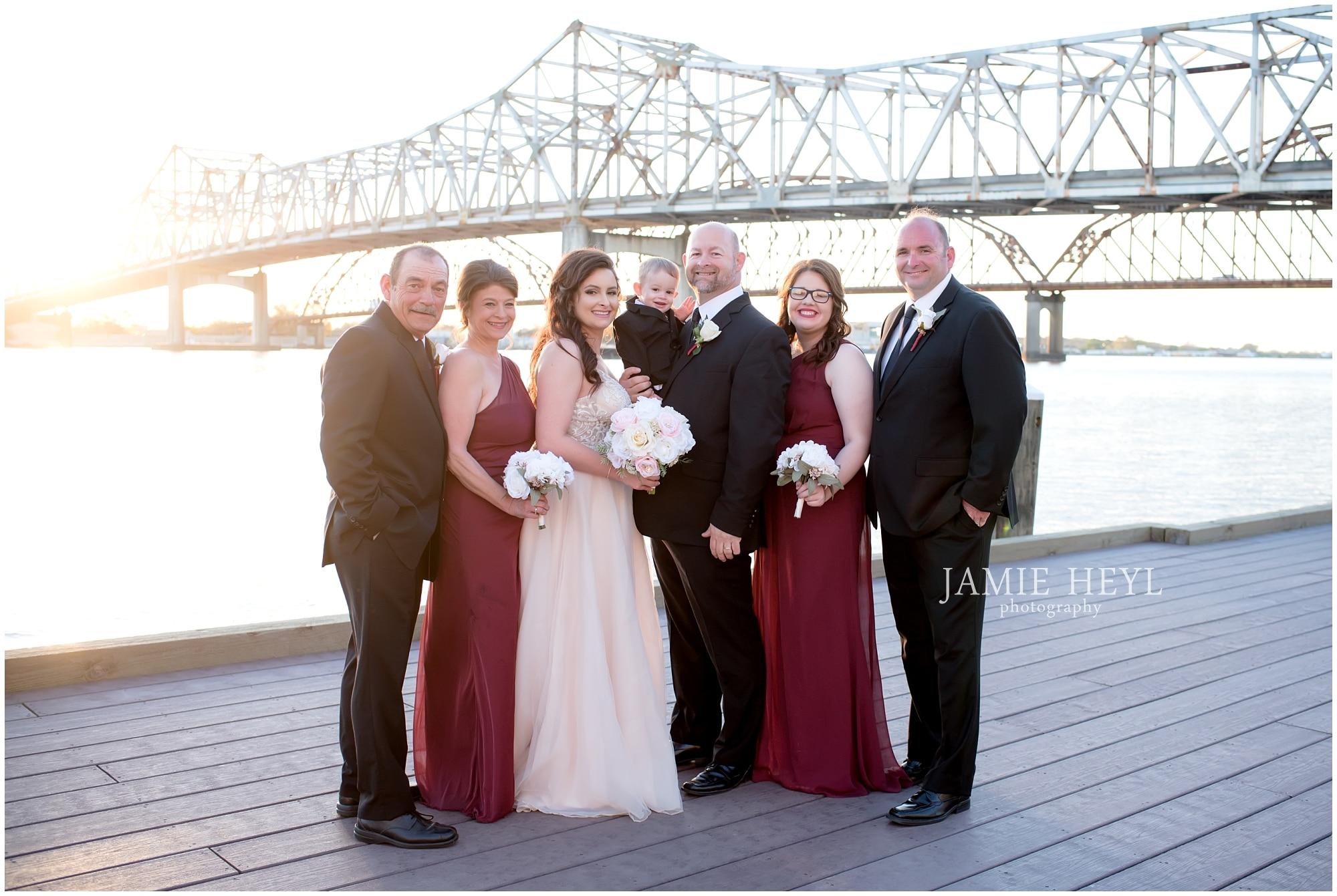 Morgan City riverfront bridal party photo